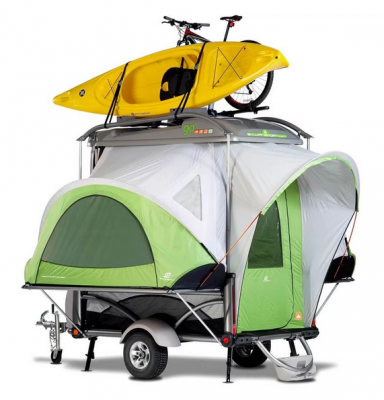 GO Kayak Trailer and Camper with Kayak and Bike